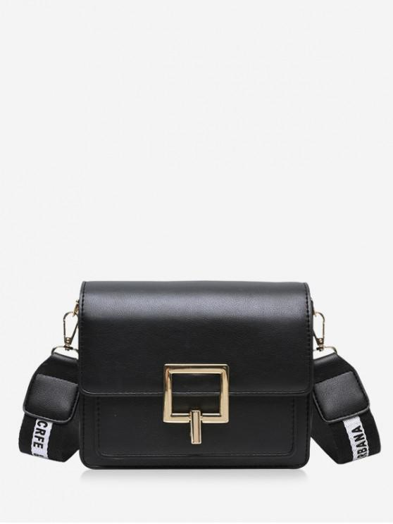 fashion Square Buckle Wide Strap Flap Crossbody Bag - BLACK