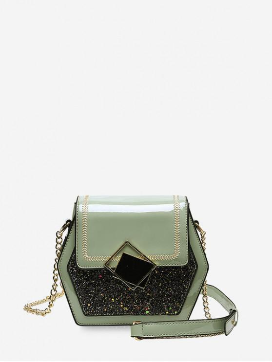 chic Shiny Sequins Panel Flap Hexagon Crossbody Bag - MINT GREEN