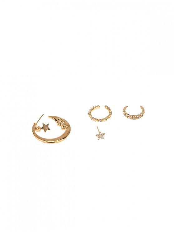 fancy 4Pcs Moon Stars Asymmetrical Earrings Set - GOLD