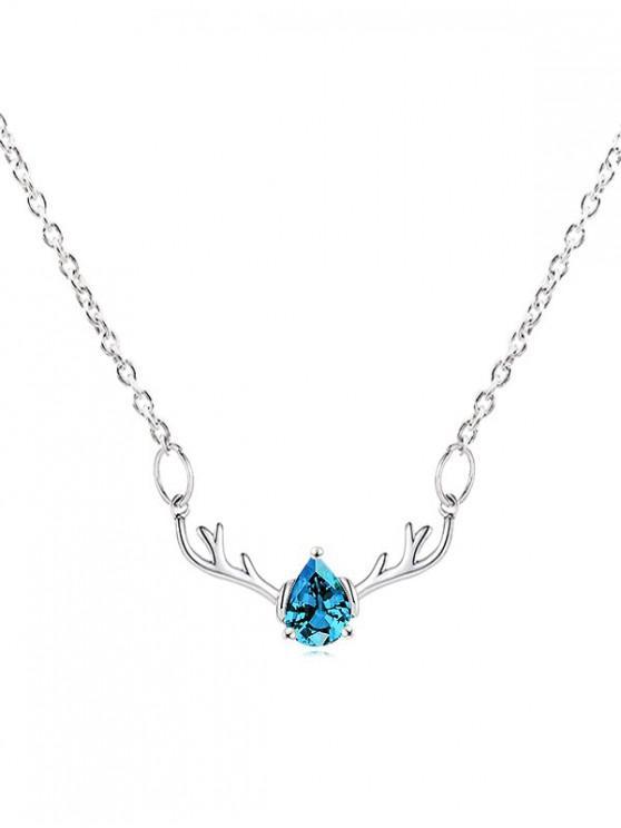 unique Rhinestone Waterdrop Elk Christmas Chain Necklace - DEEP SKY BLUE