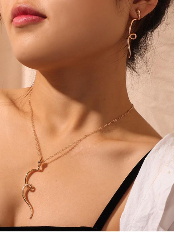 sale Snake Twist Earrings Necklace Set - GOLD