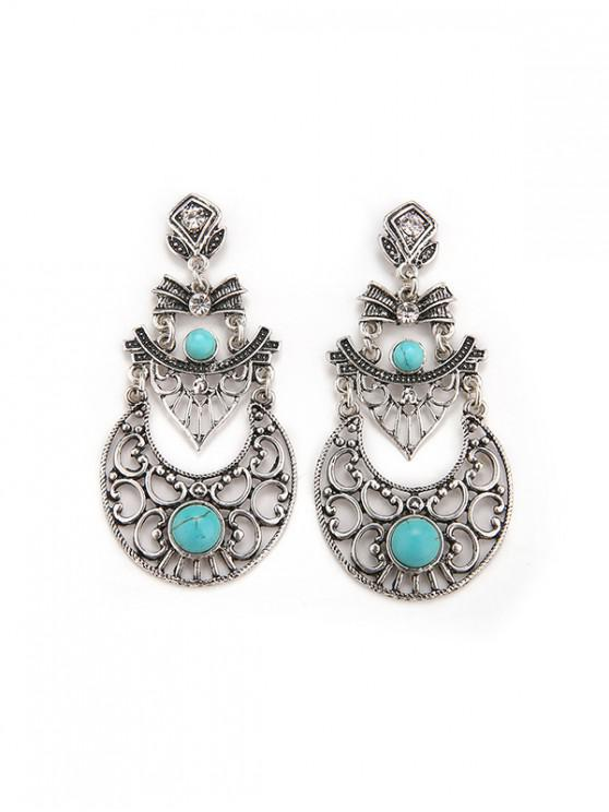 women's Faux Turquoise Crescent Shape Drop Earrings - SILVER
