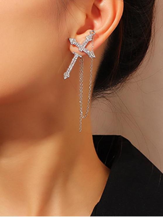 鏈水鑽交叉單只耳環 - 銀