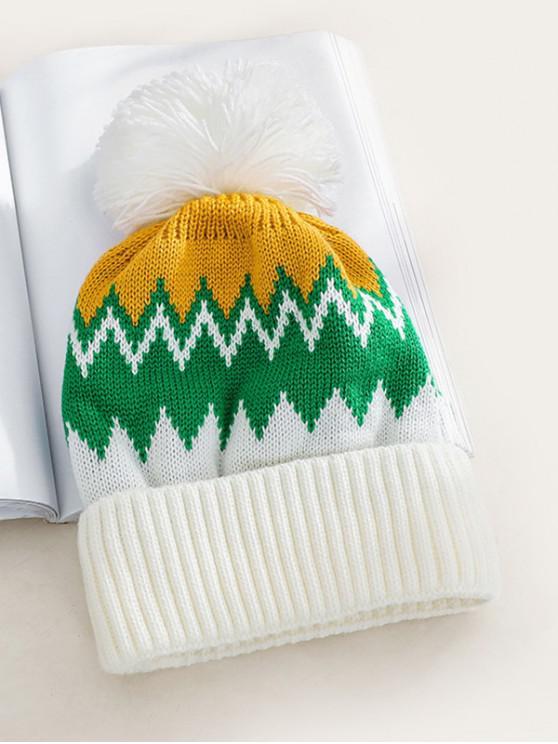 Chapeau Tricoté Zigzag en Laine - Blanc