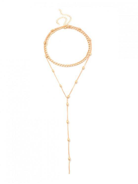 shops 2Pcs Long Pendant Sweater Chain Set - GOLD