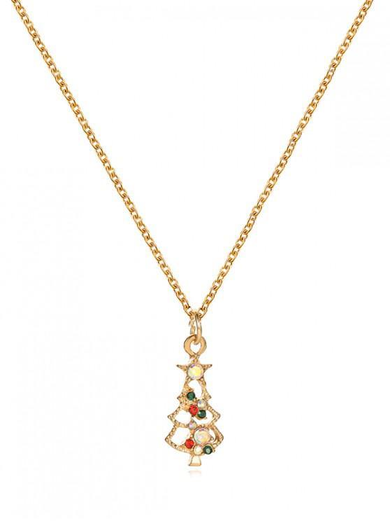 trendy Christmas Pattern Pendant Metal Chain Necklace - MULTI-E