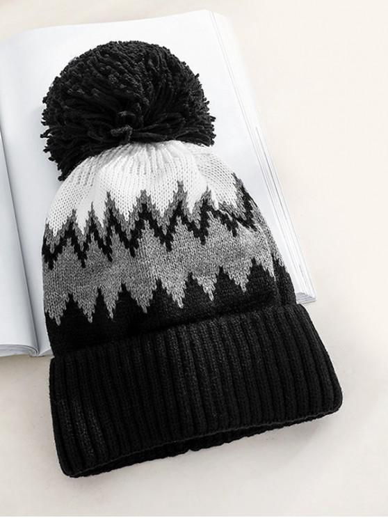 buy Zigzag Fleece Knitted Bobble Hat - BLACK