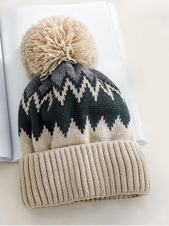 Chapeau Tricoté Zigzag en Laine - Beige