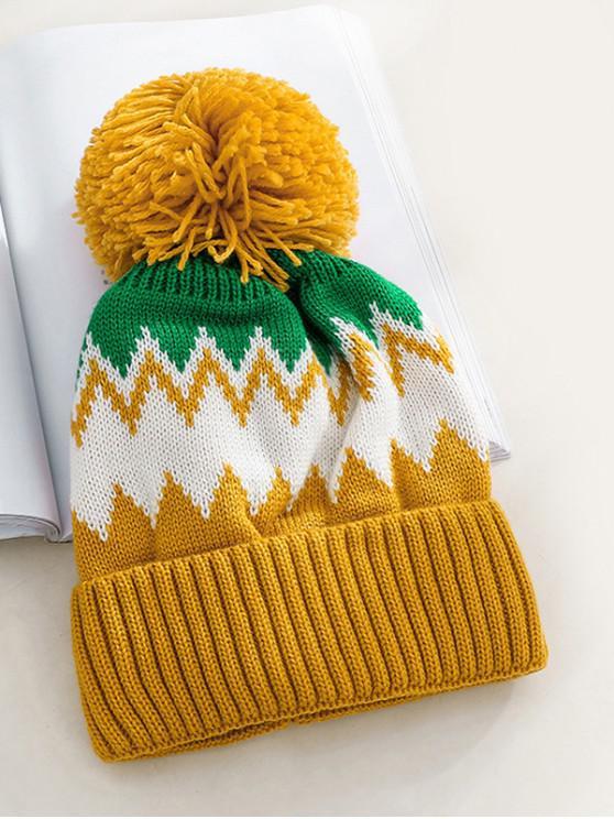 ladies Zigzag Fleece Knitted Bobble Hat - YELLOW