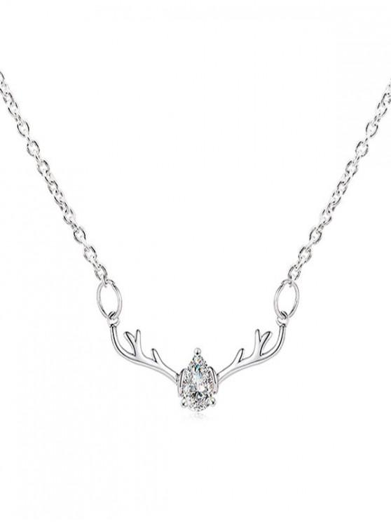 new Rhinestone Waterdrop Elk Christmas Chain Necklace - TRANSPARENT
