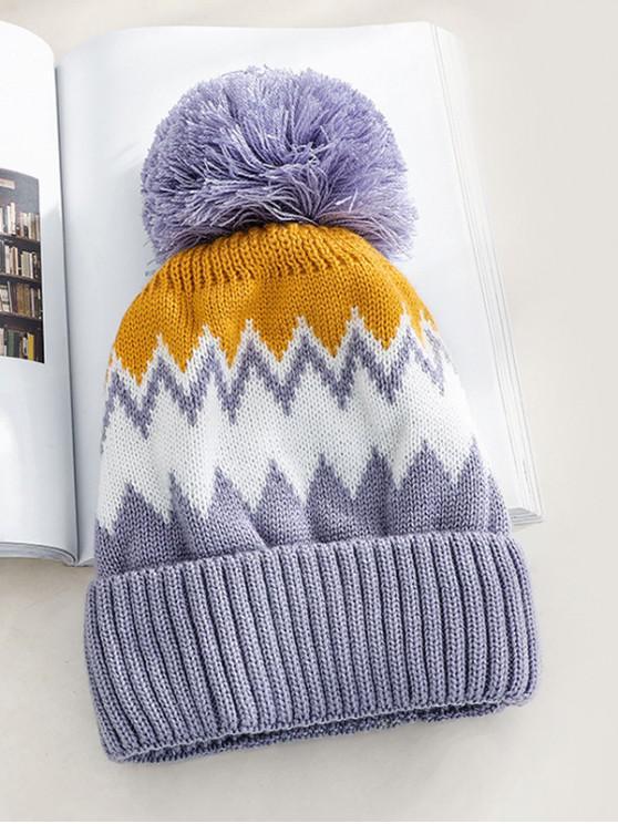 fashion Zigzag Fleece Knitted Bobble Hat - MEDIUM PURPLE