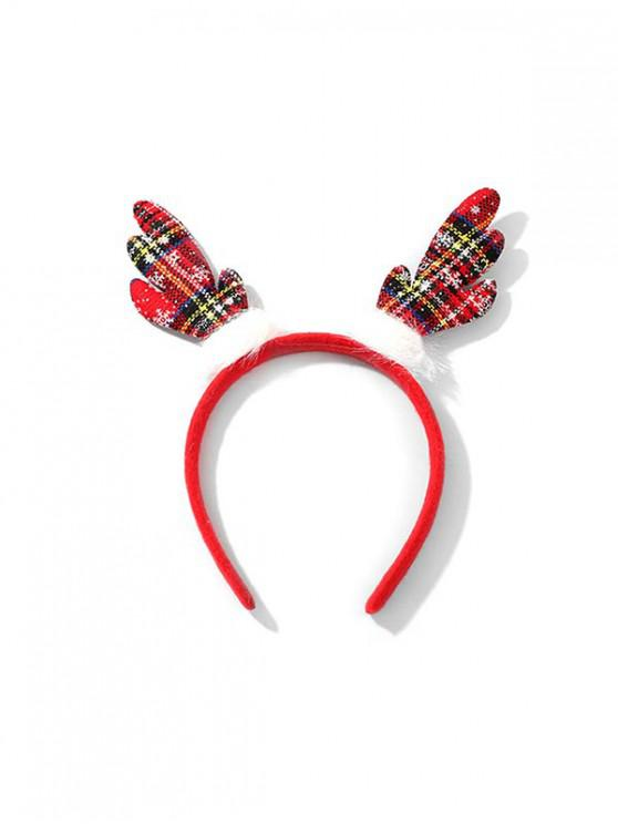 womens Christmas Plaid Pattern Antlers Hair Band - RED