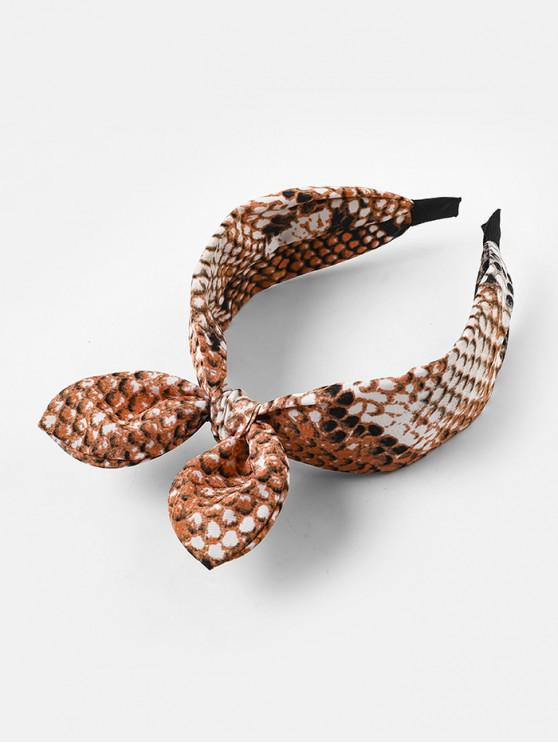 lady Bowknot Snakeskin Print Wide Hairband - TANGERINE