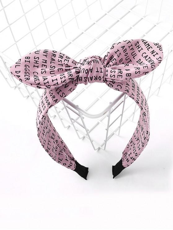 Bande de Cheveux Lettre Imprimée Partout avec Nœud Papillon - Rose