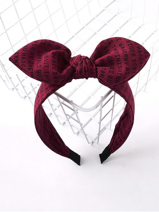 unique Letter Allover Print Bowknot Hair Band - RED WINE