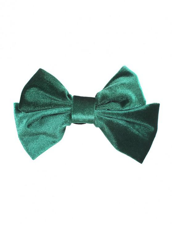 buy Velour Solid Bowknot Hair Clip - DARK GREEN