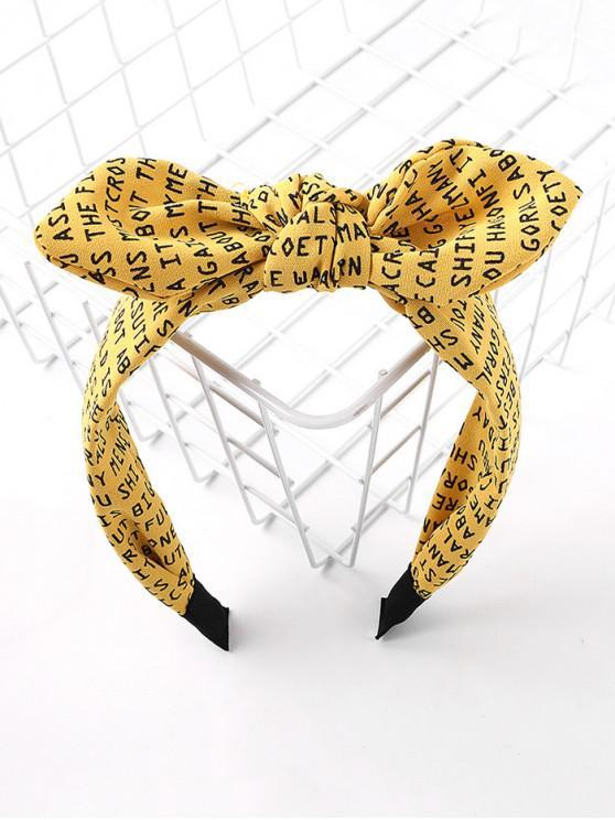 信印花布打印蝴蝶結發帶 - 黃色