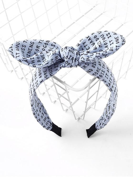 信印花布打印蝴蝶結發帶 - 藍色