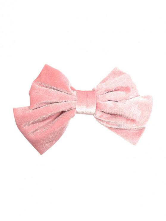 best Velour Solid Bowknot Hair Clip - PINK