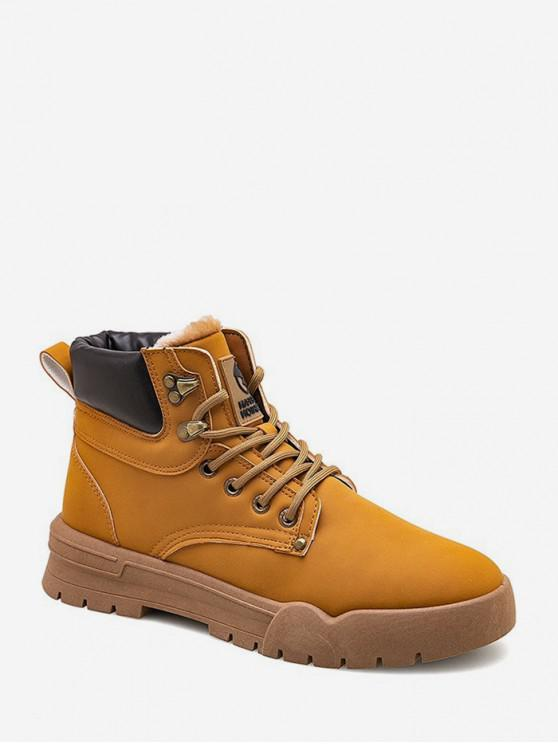 fashion Round Toe Lace Up Fleece Cargo Boots - YELLOW EU 41