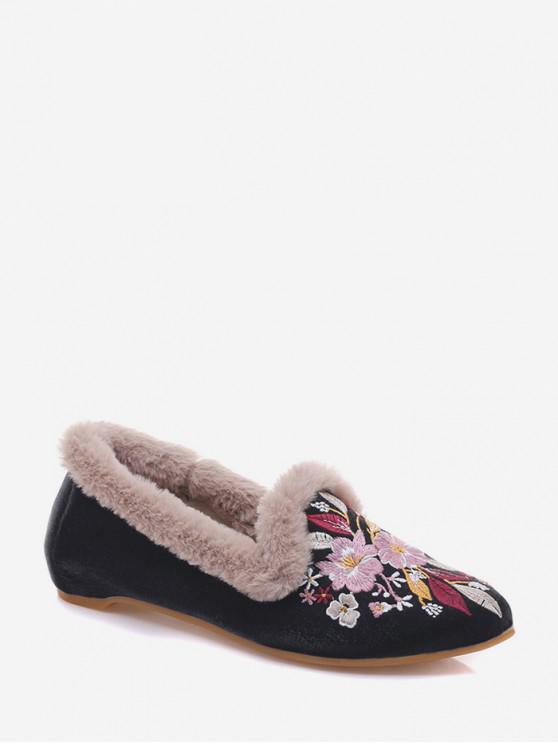 buy Fuzzy Trim Floral Embroidery Flat Shoes - BLACK EU 38