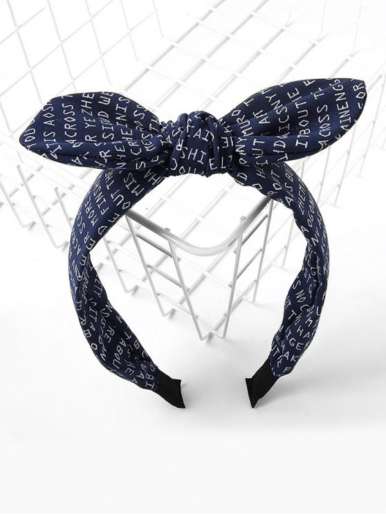 trendy Letter Allover Print Bowknot Hair Band - CADETBLUE