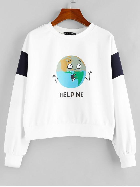 affordable ZAFUL HELP ME Graphic Sweatshirt - WHITE S