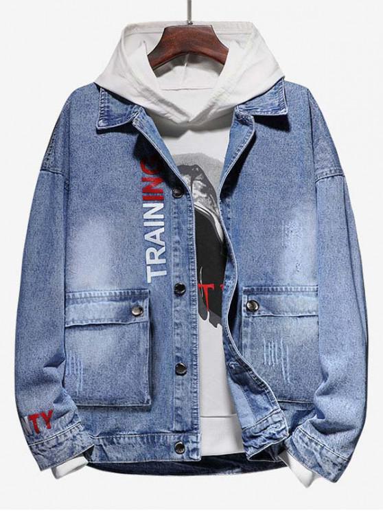 shop Letter Print Scratch Flap Pocket Jean Jacket - BLUE GRAY L