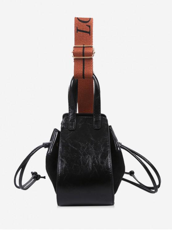 lady Jointed String Solid Shoulder Bag - BLACK