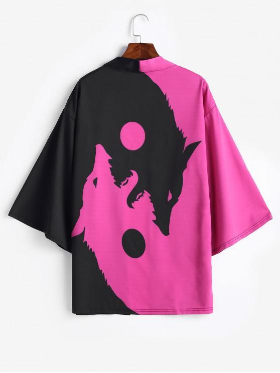 unique Roaring Moon Wolf Print Open Front Kimono Cardigan - PURPLE FLOWER S