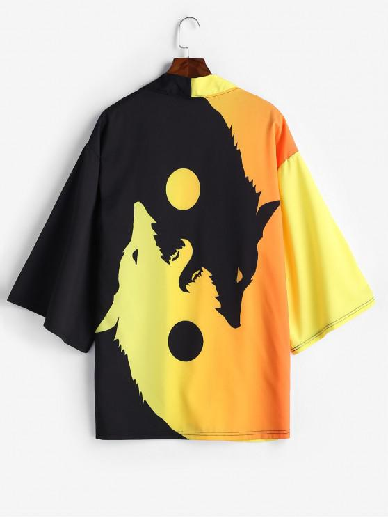 women Roaring Moon Wolf Print Open Front Kimono Cardigan - BRIGHT YELLOW L