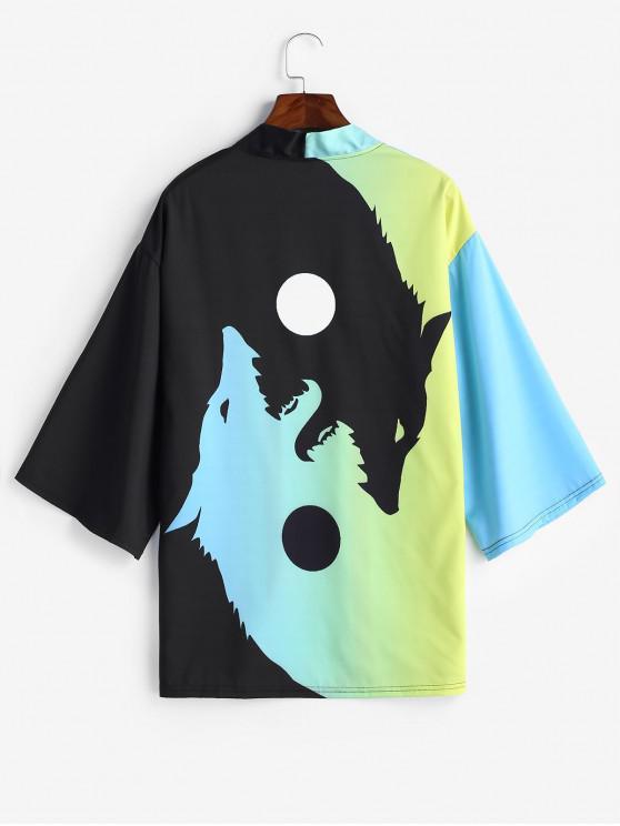 women Roaring Moon Wolf Print Open Front Kimono Cardigan - GREEN YELLOW 2XL