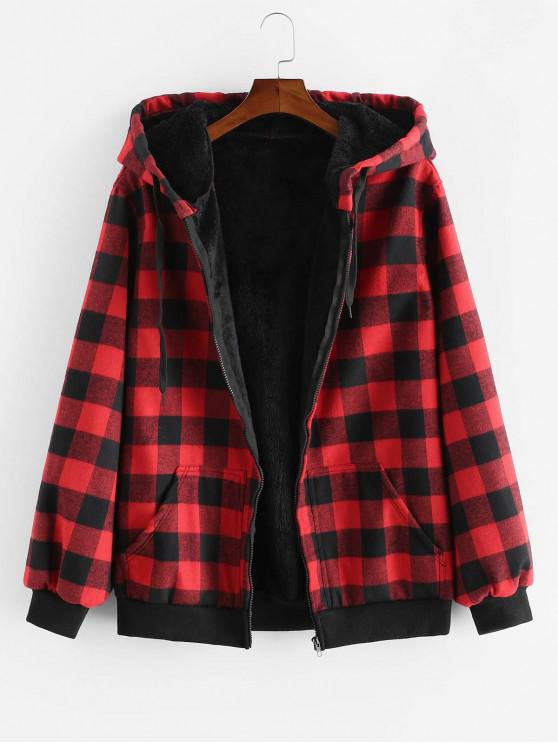 fashion ZAFUL Hood Fluffy Plush Plaid Jacket - RED 2XL