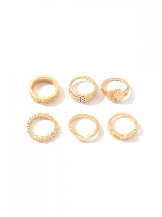 hot 6Pcs Carved Geometric Ring Set - GOLD
