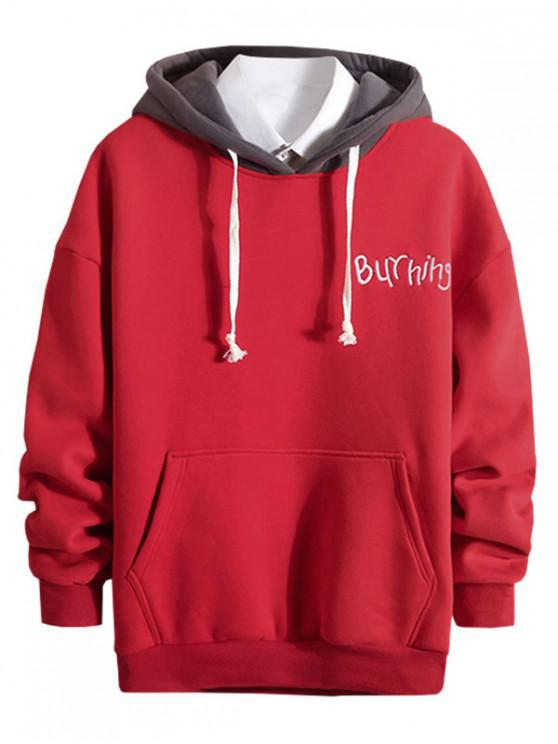 trendy Letter Embroidery Colorblock Spliced Fleece Hoodie - LAVA RED S