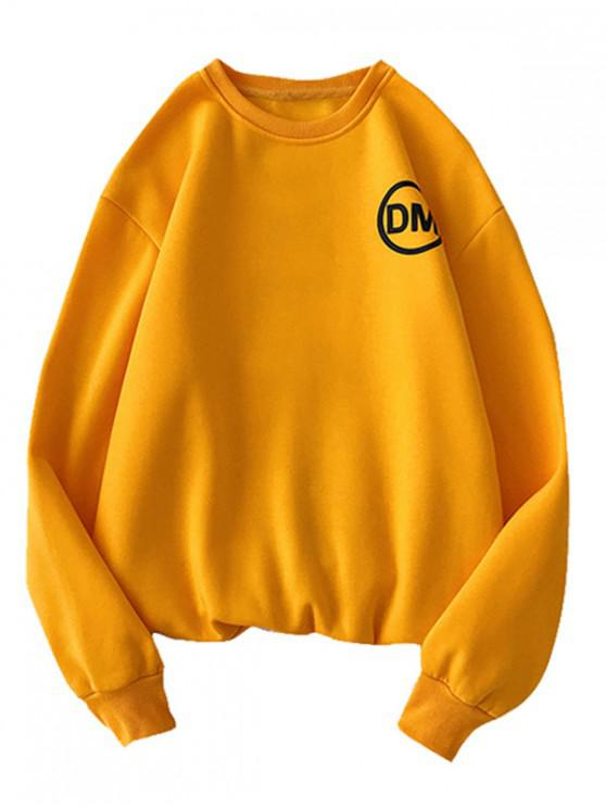 hot Casual Graphic Letter Printed Sweatshirt - BEE YELLOW XL