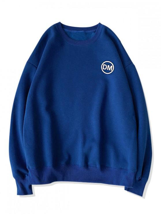 ladies Casual Graphic Letter Printed Sweatshirt - COBALT BLUE L