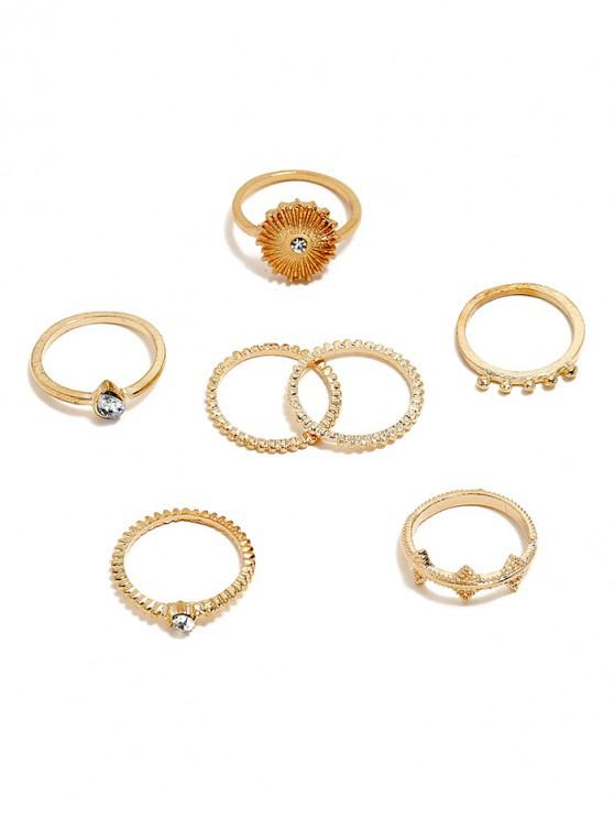 fashion 7Pcs Sun Carved Rhinestone Ring Set - GOLD