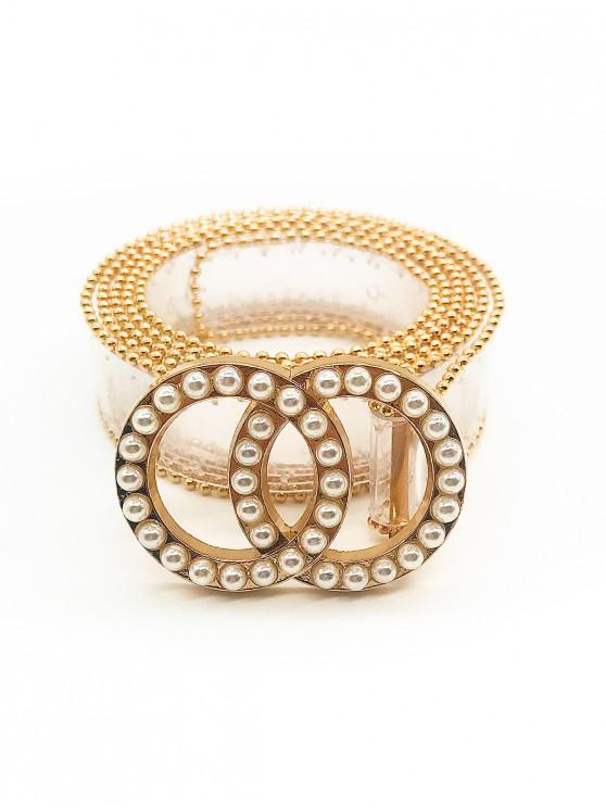 women's Artificial Pearl Round Shape Transparent Waist Belt - TRANSPARENT