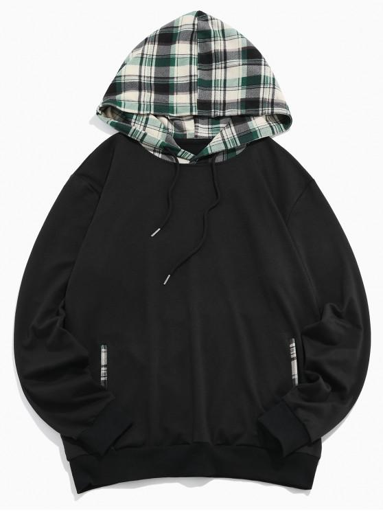 unique ZAFUL Plaid Spliced Casual Drawstring Hoodie - MULTI S