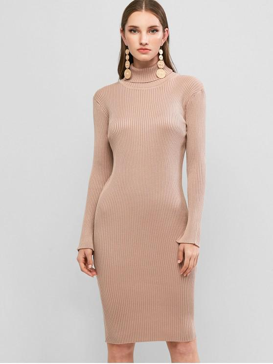 shop Turtleneck Ribbed Sheath Sweater Dress - APRICOT ONE SIZE