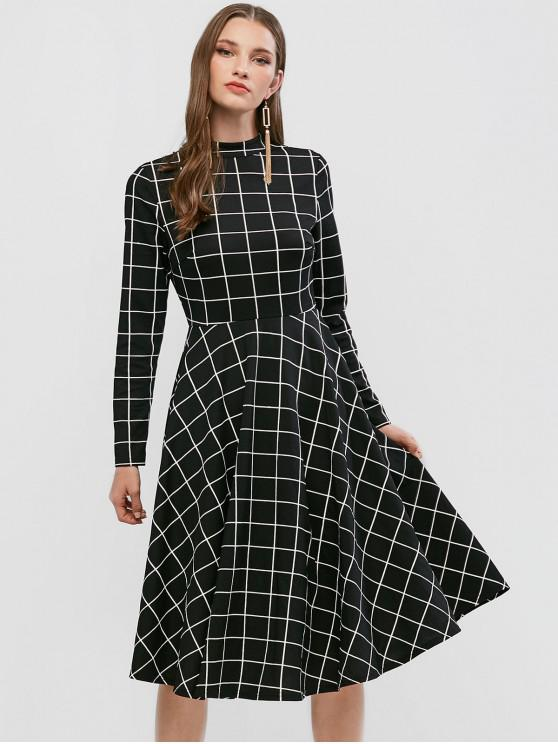outfit ZAFUL Long Sleeve Checked Mock Neck A Line Dress - BLACK M