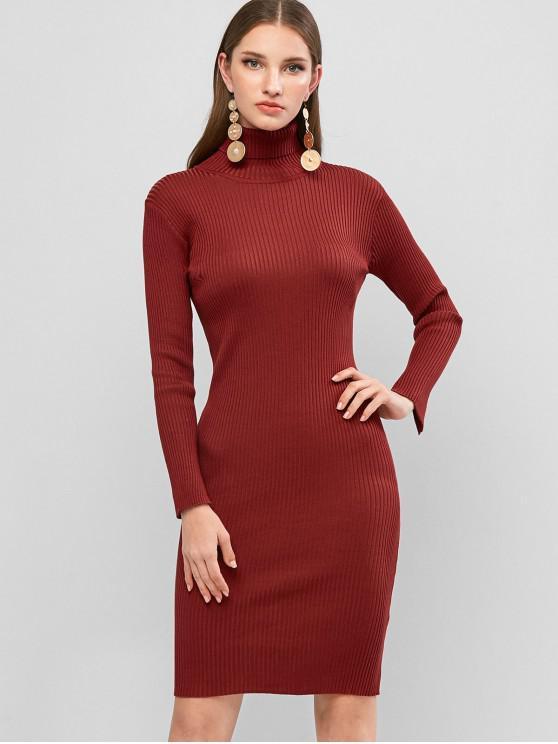 fancy Turtleneck Ribbed Sheath Sweater Dress - RED ONE SIZE