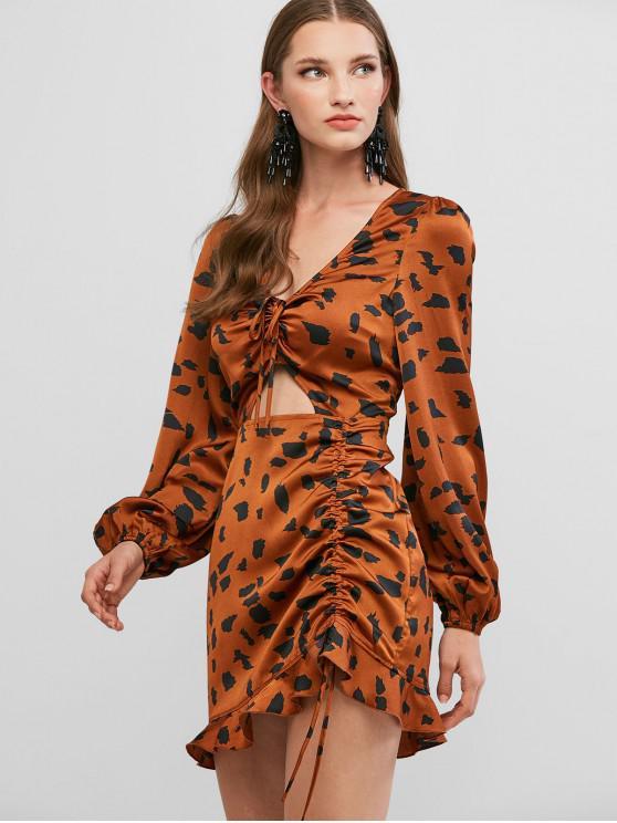 unique ZAFUL Ruffled Hem Printed Cinched Cut Out Mini Dress - BROWN L