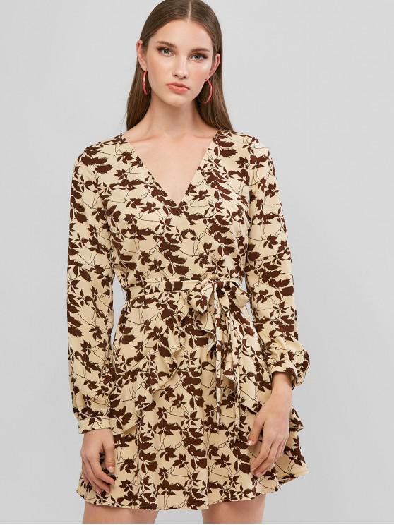 women's ZAFUL Sparkle Leaves Belted Ruffles Surplice Dress - TAN BROWN M