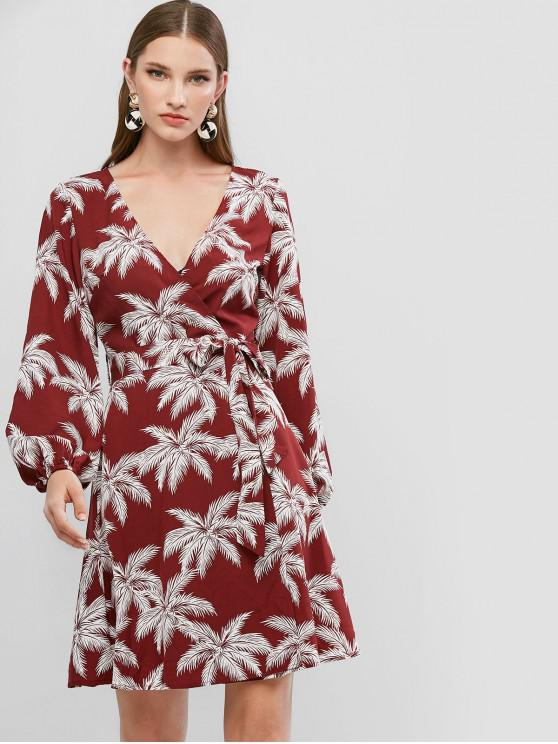 women ZAFUL Belted Overlap Leaves Print Long Sleeve Dress - FIREBRICK M