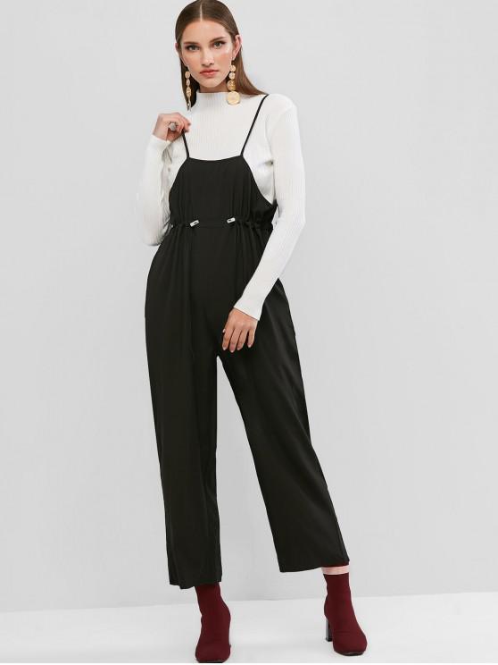 ladies Toggle Drawstring Waist Cami Jumpsuit - BLACK L