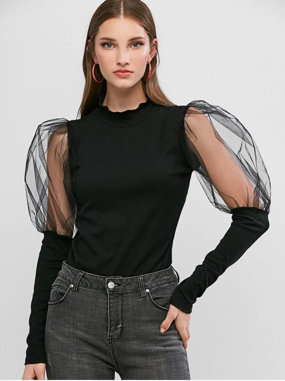 outfit Ribbed Mesh Sheer Gigot Sleeve Knitwear - BLACK L