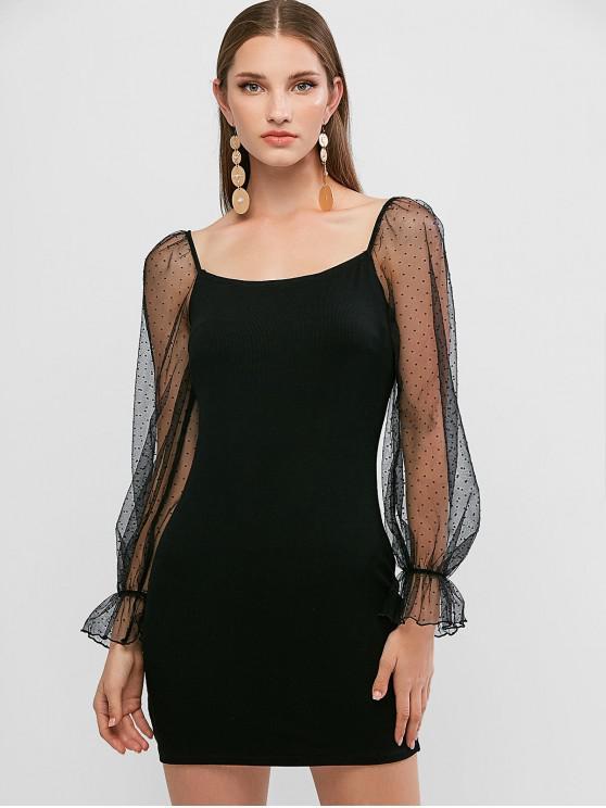 sale ZAFUL Dotted Mesh Panel Off Shoulder Bodycon Dress - BLACK M