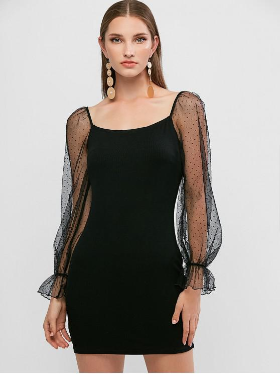 shops ZAFUL Dotted Mesh Panel Off Shoulder Bodycon Dress - BLACK S